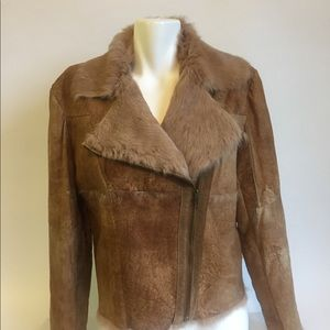 Leather 100% Cuir Brown Winter Jacket size L